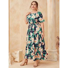 Длинное платье макси с поясом MN142