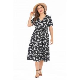 Черное платье с цветочным принтом MN140