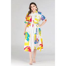 Элегантное платье-рубашка с ярким принтом MN139