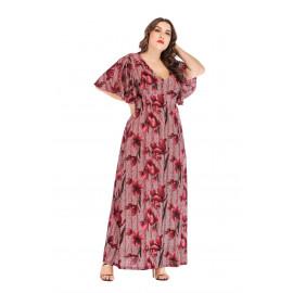 Женское платье с цветочным принтом размер плюс MN138-2