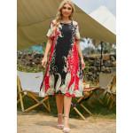 Открытое платье с цветочным рисунком размера плюс MN135