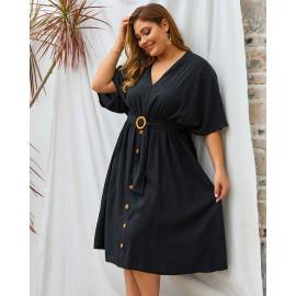Повседневное черное платье размера плюс MN134-1