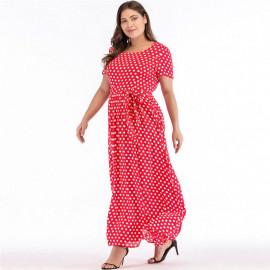 Женское платье в горошек размера плюс MN130