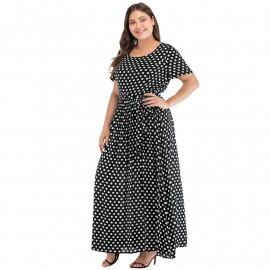 Длинное платье макси в горошек размера плюс MN130-1