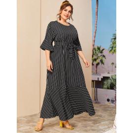 Женское длинное платье в полоску большие размеры MN128