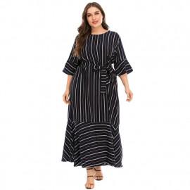 Женское длинное платье в полоску размер плюс MN128-1