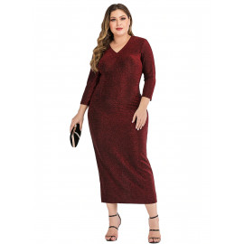 Вечернее бордовое платье размера плюс MN123-1