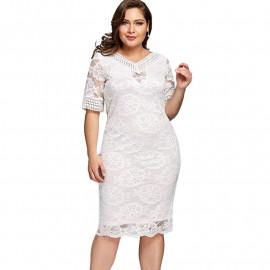 Белое кружевное платье размера плюс MN120