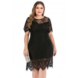 Черное кружевное платье размера плюс MN116