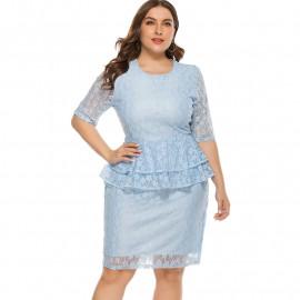 Голубое кружевное платье для женщин MN111