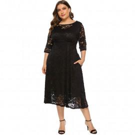 Черное вечернее кружевное платье MN110-1