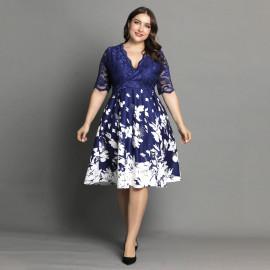 Женское платье с цветочным принтом размера плюс MN107