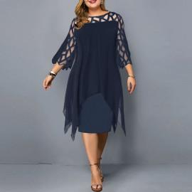 Женское синее платье для полных MN105