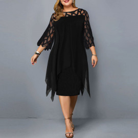 Женское черное платье для полных MN105-1