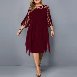 Женское бордовое платье для полных MN105-2