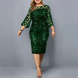 Женское зеленое платье с пайетками для полных MN008-4