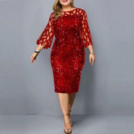 Женское красное платье с пайетками для полных MN008-3