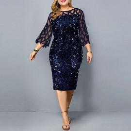 Женское темно-синее платье с пайетками для полных MN008-1