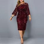 Женское бордовое платье с пайетками для полных MN008-2