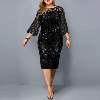 Женское черное платье с пайетками для полных MN008, размер 50 - 58