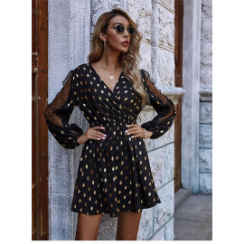 Короткое платье выше колена с длинным рукавом MN103