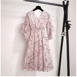 Женское летнее розовое шифоновое платье MN102-2
