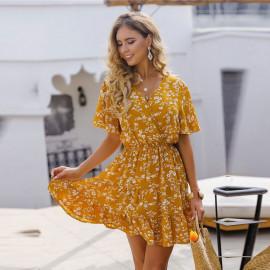 Летнее женское платья с рукавом-бабочкой MN99