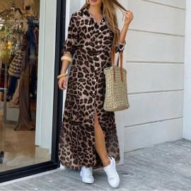 Леопардовое платье-рубашка MN96-4