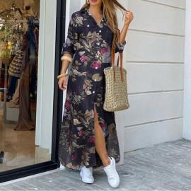 Длинное платье-рубашка в пол MN96