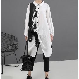 Летнее платье-рубашка с принтом MN94