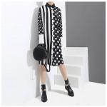 Черно-белое платье-рубашка женское MN93