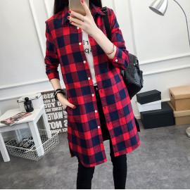 Платье-рубашка клетка красная MN92