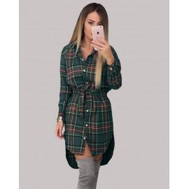 Платье-рубашка зеленое в клетку MN91-3