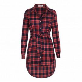 Платье-рубашка в клетку красное MN91-1