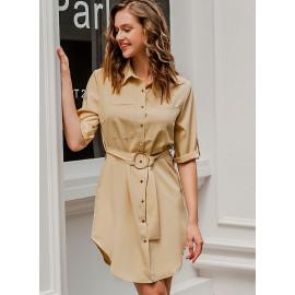 Короткое платье-рубашка с поясом MN90