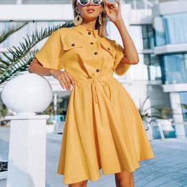Желтое платье-рубашка короткое MN86-1