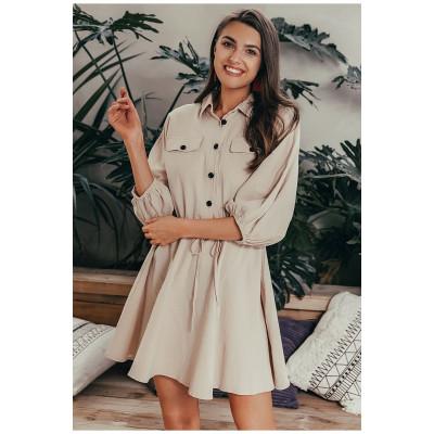 Бежевое платье рубашка короткое MN86, размер 44 - 48