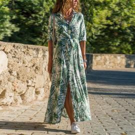 Длинное платье-рубашка в пол MN85-2