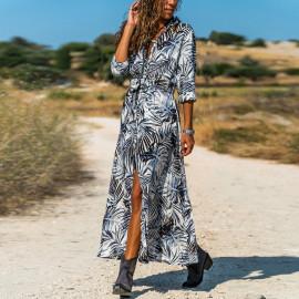 Летнее длинное платье рубашка MN85-1