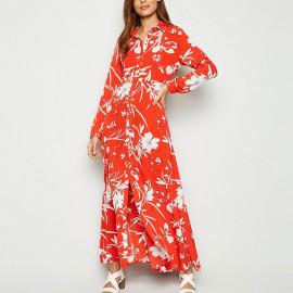 Длинное красное платье-рубашка MN84