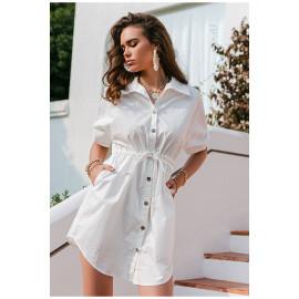 Платье-рубашка белое хлопок MN82