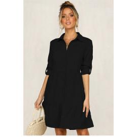 Черное платье-рубашка женское MN81-1