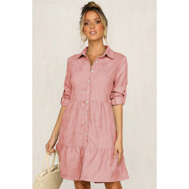 Розовое платье-рубашка для девушек MN81-4