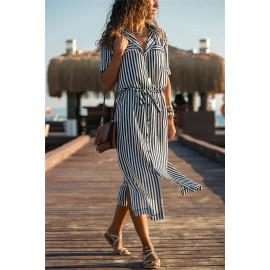 Длинное платье-рубашка в полоску MN78-1