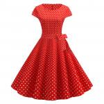 Красное платье в мелкий горошек MN68-2