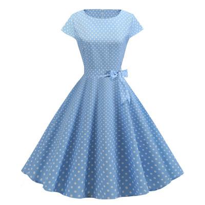 Голубое платье в белый горошек MN68-3, размер 42 - 50