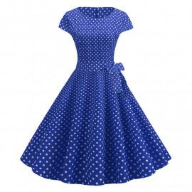 Синее платье в мелкий горох MN68