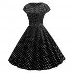 Платье черное в мелкий белый горошек MN68-4