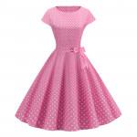 Розовое платье в горох MN68-1