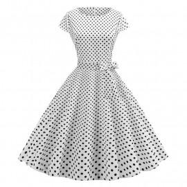 Женское платье белое в горошек MN68-5